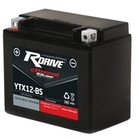 МОТО АККУМУЛЯТОР RDRIVE EXTREMAL SILVER YTX12-BS