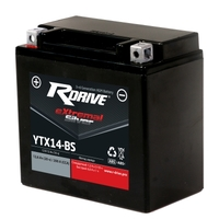 МОТО АККУМУЛЯТОР RDRIVE EXTREMAL SILVER YTX14-BS